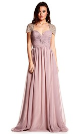 Cap Sleeve Ruched Sweetheart Chiffon Prom Dress