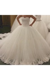 Stunning Sweetheart Pleated Tulle Ball Gown With Lace Hemline and Beading
