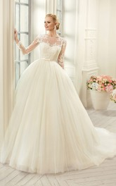 Ball Gown Floor-Length Jewel Long-Sleeve Illusion Tulle Lace Dress With Appliques
