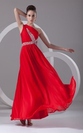 one-shoulder ankle-length chiffon dress with cross beading and ruching