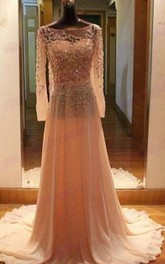 Gorgeous Long Sleeves Beadings Prom Dress 2018 Chiffon Long Party Gown