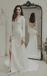 Sexy Split Front Satin Wedding Gown With Keyhole And Deep V-neck