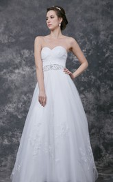Sleeveless A-line Lace Applique Tulle Gown With Beaded Belt