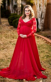 V-neck Long Lace Sleeve Empire Sweep Train Chiffon Maternity Dress