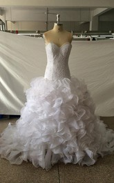 Sweetheart Dropped Waist Mermaid Organza Wedding Dress With Ruffles And Sequins