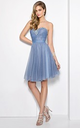 A-Line Mini Sweetheart Ruched Sleeveless Tulle Prom Dress With Beading And Pleats