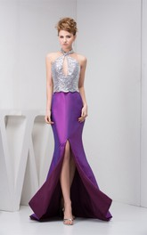Sleeveless Mermaid Front-Split Dress with Sequins and Keyhole