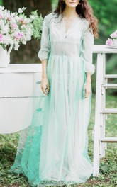 Two-Tone V-Neck Balloon Sleeve Tulle Dress