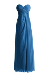 Sweetheart Asymmetrical Ruched Bodice Long Pleated Chiffon Dress