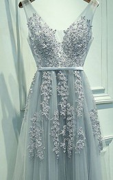 A-line Sleeveless V-neck Tulle Applique Floor Length Dress