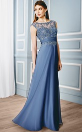 Sheath Cap-Sleeveless Bateau Floor-Length Appliqued Formal Dress With Illusion Back