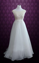 A-Line Scoop-Neck Organza Dress With Appliques