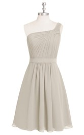 One-Shoulder Short A-Line Pleated Chiffon Dress With Ruching