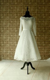 Lace Wedding Sheer Neckline With Sleeves Tea Length Garden Bridal Dress