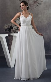Flowered Sleeveless Ruched Floor-Length Chiffon Gown with Crystal Detailing