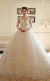 Romantic Lace and Tulle Ball Gown Scalloped Long Sleeve Wedding Gown