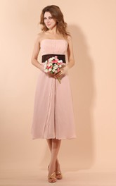 Strapless Tea-Length Dress With Ruching And Ruffle Waist