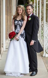 Victorian Gothic Vintage Black Lace and White Organza Garden Wedding Dress