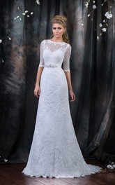 A-Line Long Bateau Half-Sleeve Low-V-Back Lace Dress With Beading And Ribbon