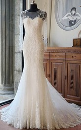 Illusion Scoop-neck Long Sleeve Mermaid Wedding Dress With Beading And Chapel Train