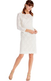 Pencil Long-Sleeve Bateau-Neck Midi Lace Little White Dress