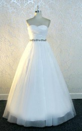 Sweetheart Lace-Up Back Long Tulle Wedding Dress With Sash And Crystal Detailing