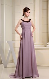 Sleeveless Chiffon A-Line Gown with Ruching and Sweep Train