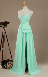 Long Strapped Sweetheart Chiffon&Satin Dress