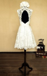 V-Neck Sleeveless Keyhole Back Short Lace Wedding Dress With Bow And Flower
