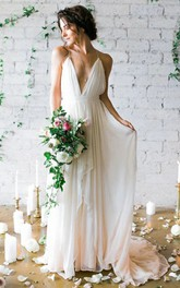 Simple Sexy Plunging V Neck Straps Spaghetti Sheath Chiffon Wedding Dress