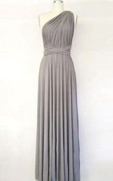Silver Light Grey Long Maxi Infinity Gown Convertible Formal Multiway Wrap Bridesmaid Evening Toga Dress