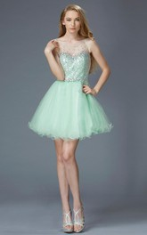 A-Line Short Scoop-Neck Sleeveless Tulle Illusion Dress With Sequins