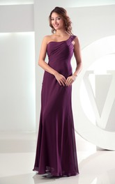 Simple Sleeveless Chiffon Floor-Length Dress With Single Strap