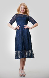 Half Sleeve Lace Tea Length Dress With Jewel Neckline