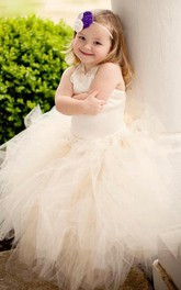 Tulle&Lace&Satin Dress With Flower Sash Ribbon and Ruffles