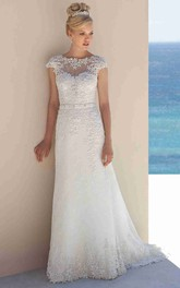 Sheath Jewel-Neck Sleeveless Long Lace Wedding Dress With Appliques