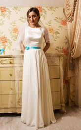 Satin Sheath Floor-Length Dress With Pleats And Bow