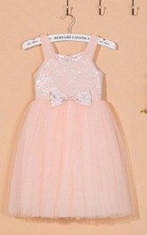 Strapped Square Neck Tulle Dress With Sequins&Flower