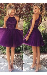 Elegant Purple Beadings High Neck Homecoming Dress Short