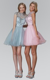 A-Line Short Jewel-Neck Cap-Sleeve Tulle Dress With Sequins And Ruffles