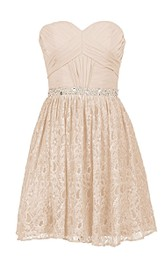 Sweetheart Basque Lace Dress With Beading Embellishments