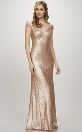 Maxi Cap Sleeve V-Neck Sequin Bridesmaid Dress