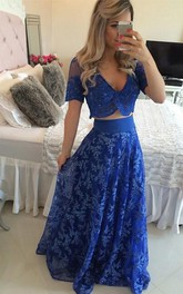 Sexy Two Piece Royal Blue Prom Dress 2018 Appliques Short Sleeve