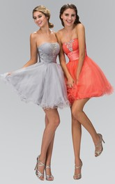 A-Line Short Strapless Sleeveless Tulle Dress With Beading And Ruffles