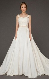 Square Neck A-Line Satin Wedding Dress With Ruching and Beading