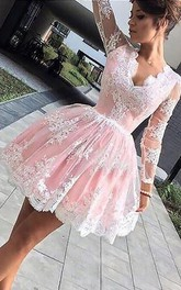 A-line Ball Gown Scalloped V-neck Long Sleeve Pleats Ruching Short Mini Lace Homecoming Dress