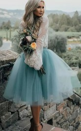 A-line Two Piece Long Sleeve Pleats Tea-length Lace Tulle Homecoming Dress