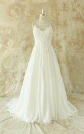 Spaghetti Chiffon Wedding Dress With Criss Cross And Crystal Detailing