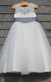Tulle&Lace Bodice Dress With Sleeveless and Keyhole