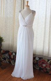 V-Neck Low-V Back Chiffon Wedding Dress With Crystal Detailing And Ruching